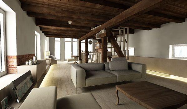 Hlavná myšlienka premeny sýpky spočíva v odlíšení starých a nových prvkov. #ASB #loft #wood #design