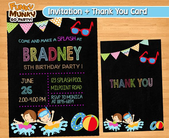 Pool Party Invitation  Pool Party Birthday by funkymunkygoparty