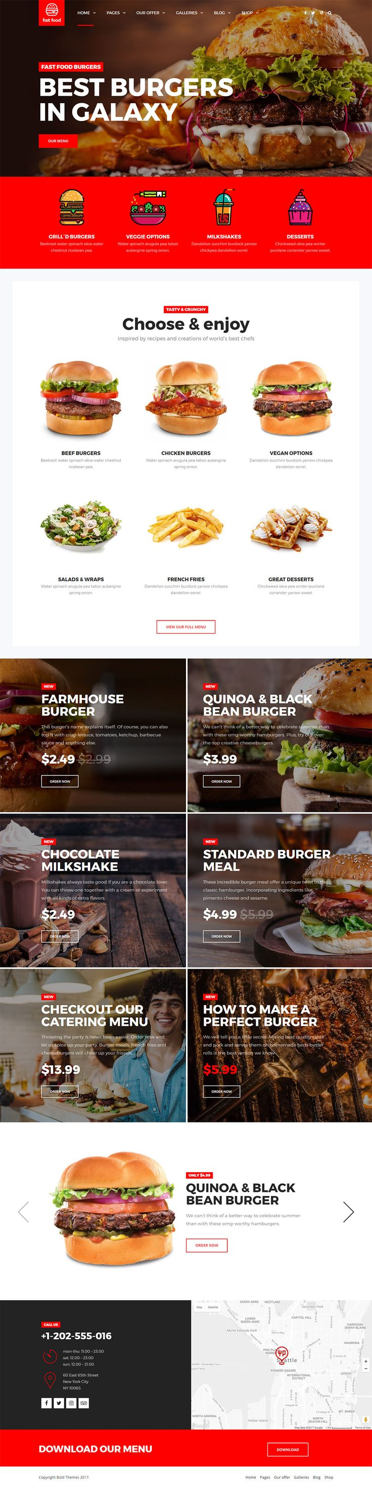WordPress theme exclusively built for fast food, food truck, kebab, takeaway, small & pop-up restaurant websites. It is fully responsive, retina ready and easy to customize.