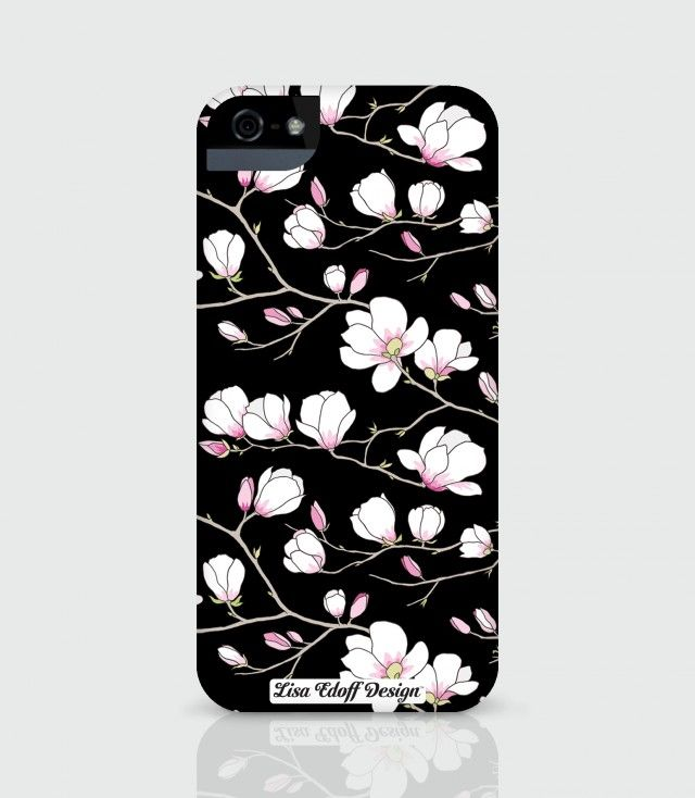 Black Magnolia iPhone case by Lisa Edoff Design #nordicdesigncollective #nordic #nordicdesign #autumn #backtoschool #backtowork #schoolstart #iphonecase #lisaedoff #lisaedoffdesign #magnolia #pink #flower #black #iphone5s #case #accessory #mobileaccessory #floral #print #pattern