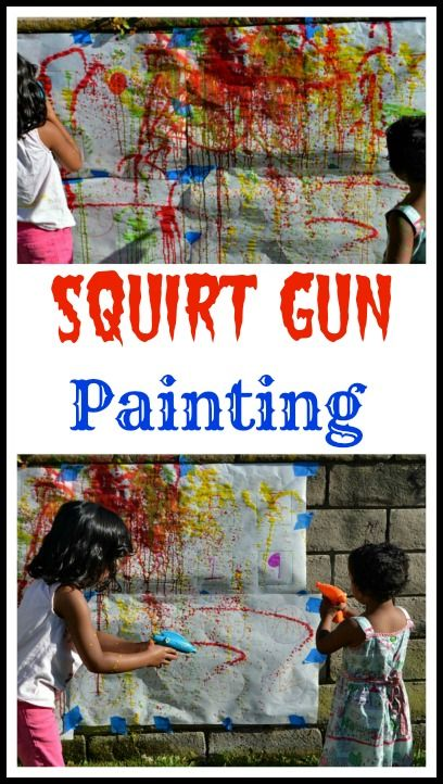 Squirt gun painting for a fun time this summer in your backyard