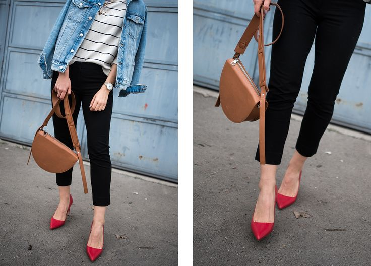 Denim Jacket: H&M | Sweater: H&M | Bag: ÁERON | Glasses: EyeBuyDirect | Trousers: GAP | Heels: Zara
