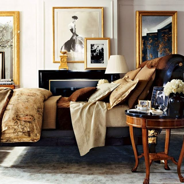 The Entertaining House: Stylish notes on decor :: The golden rules - layered bedding: Ralph Lauren, Color Palettes, Gold Frames, Masculine Bedrooms, Interiors Design, Ralphlauren, Master Bedrooms, Black Gold, Bedrooms Decor