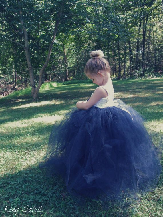 Navy Flower Girl Tutu Dress with Rose Nautical by KingSoleil, $160.00