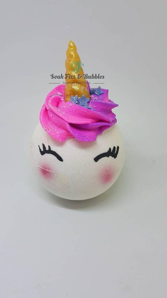*Scent- A fruity floral blend of spicy pears, green apples, honeydew and yummy strawberries followed by soft vanilla to add depth.   *Top part is a bubble truffle that will fizz along with the bath bomb and the horn is made with glycerin soap.  Ingredients: Sodium Bicarbonate, Citric Acid, Tapioca, Vinis Vinifera (Grapeseed), Potassium Bitartrate, Kaolinite, Sodium Lauryl Sulfoacetate, Theobroma cacao (Cocoa) Seed Butter, Butyrospermum parkii (Shea Butter) Fruit, Cocamidopropyl Betaine…