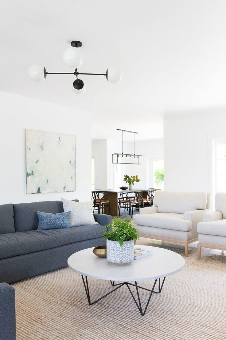 Modern Neutral Living Room Charcoal Sofa With White Linen Chairs Minimalist Styling Oversized Black And Wh Living Room Modern Living Decor Cozy Living Rooms #white #modern #living #room #furniture
