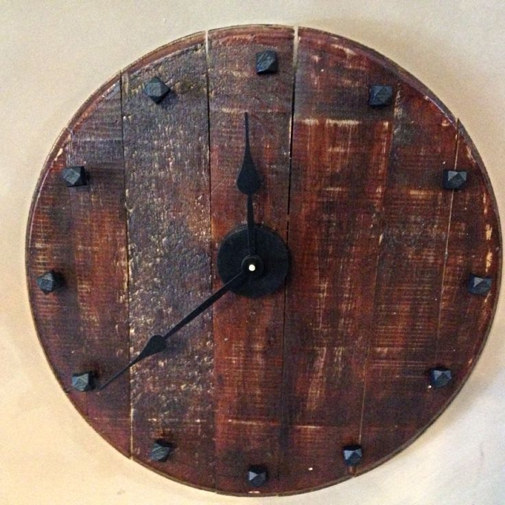 Whiskey Barrel Lid Head Made Into Clock My Diy Finished