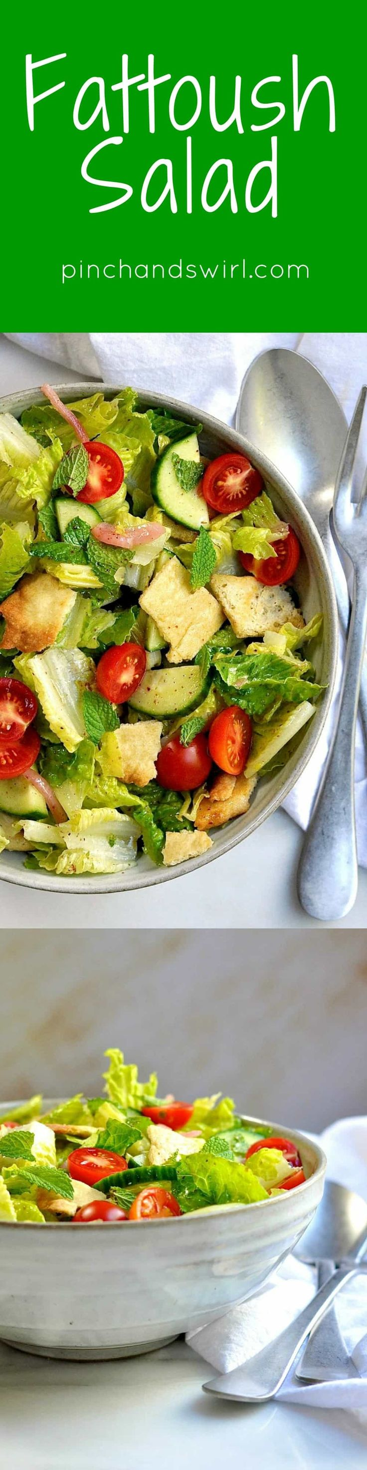 Fattoush is a Lebanese salad of crisp lettuce, crunchy vegetables, toasted bites of pita bread and a tangy sumac dressing! A perfect way to use leftover pita bread, this fattoush salad recipe comes together in minutes and is hearty enough to be a meal on its own.