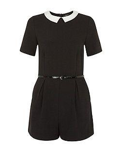 Teens Black Crepe Collar Playsuit  | New Look