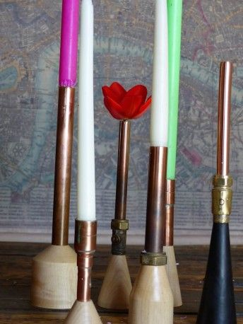 Chimney Candle Holders in pack of 6 -  Handmade from reclaimed copper piping and sycamore bases. Designed to use as candle holders but also make very funky, retro ornaments or vases for dry flowers. This original idea came to Forge Creative from a pile of unwanted, old copper pipes. Diameter of copper pipe 22mm.