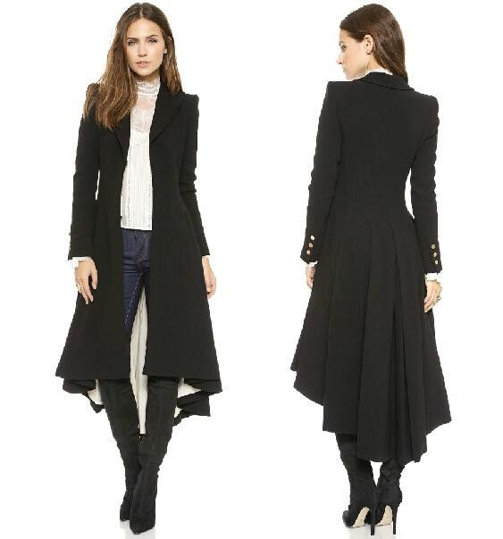 One Of A Kind Fashionable Victorian Extra Long Trench Coat w/Turn-down Collar, DovetailWom