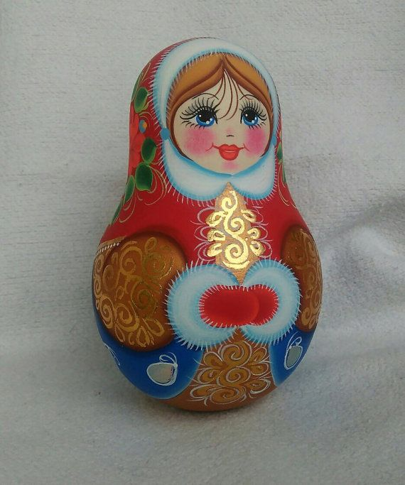 47 12cm Traditional Wooden Doll Roly-poly with