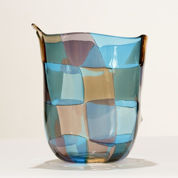 Venini Pezzato Murano glass vase, in a Venezia variation, designed by Fulvio Bianconi, c.1950s. --an amazing piece
