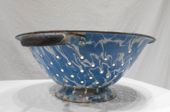 Esmalte antiguo colador azul y blanco salpiquen granito cerámica casa cocina colador