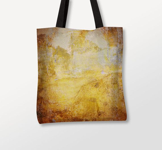 Rusty Tote Bag, Golden Paint Texture, Abstract Photo, Polyester Fabric. Photo by Donatella Tandelli.  FABRIC - Polyester - Black cotton web handles