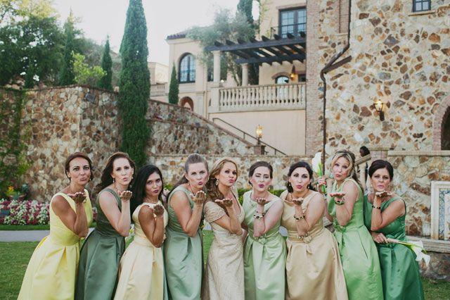 bridesmaid dresses in shades of green | Kismis Ink Photography: http://www.kismisink.com
