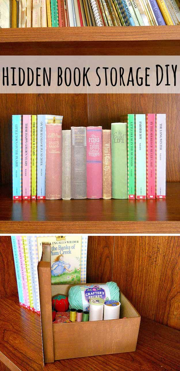 Cool DIY Project. hidden book storage. Finally! A way to hide my sewing scissors!