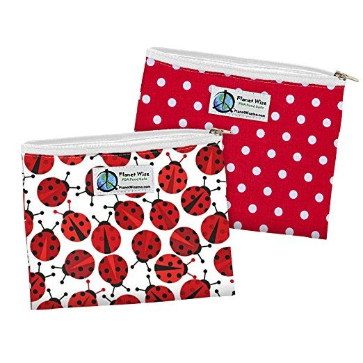 Planet Wise Zipper Sandwich Bags, 2 Count, Ladybug/Red Dot