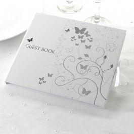 <p>Prachtig wit gastenboek met een zilveren foliedruk aan de voorkant.</p> <p>Dit boek bevat 35 blanco pagina's. Op de eerste pagina is het woord Guests geprint met een lijn daaronder om de gelegenheid in te vullen.Afmetingen: 22 x 19 cm</p> <p>Een gastenboek hoort bij een bruiloft. Je ziet alle gasten even tijdens het feliciteren, anderen spreek je wat langer, maar om te weten wie er allemaal precies geweest zijn, is een gastenboek toch wel een hele mooie manier. Je kunt het ...