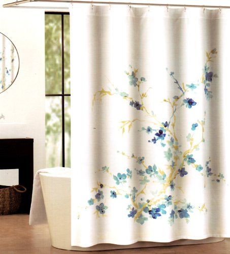 Tahari Home Printemps White Blue Floral Fabric Shower