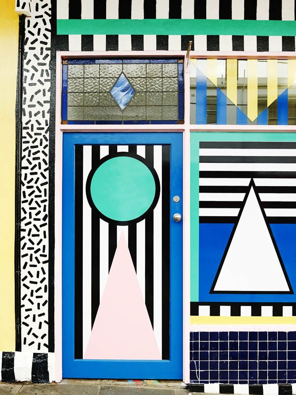 Detail from facade of the newThird Drawer Downstore in Greville st, Prahran – artwork byCamille Walala. Photo -Eve Wilson.