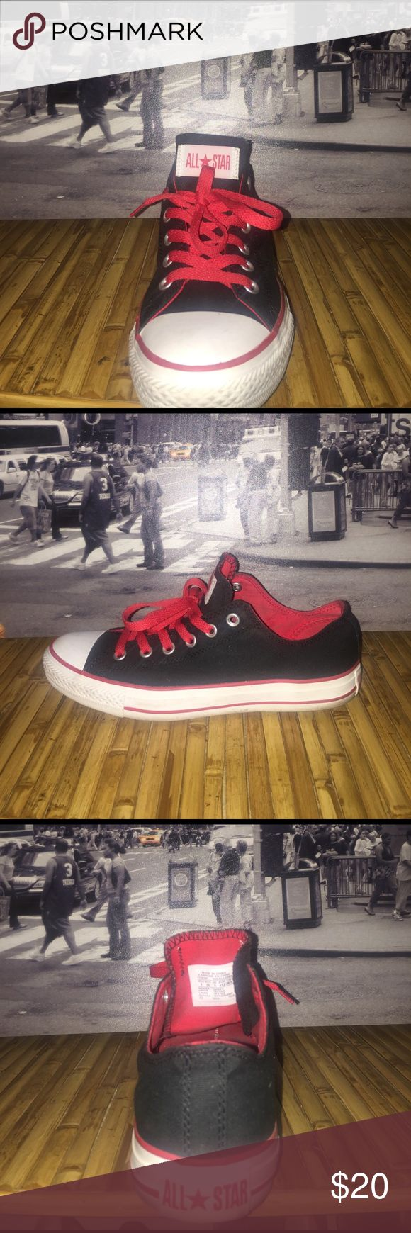 Black n Red Chuck Taylor's Loved with Love still in good condition Mens size 8 Women's size 10 Converse Shoes Sneakers