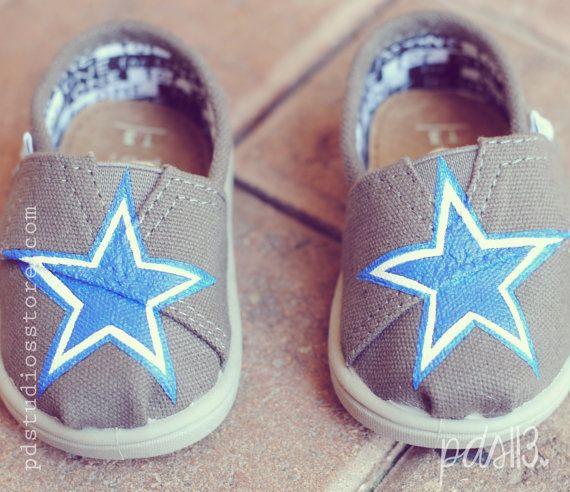 Custom Hand Painted Baby Tiny Toms, Dallas Cowboys Baby Boy Tiny Toms on Etsy, $79.00