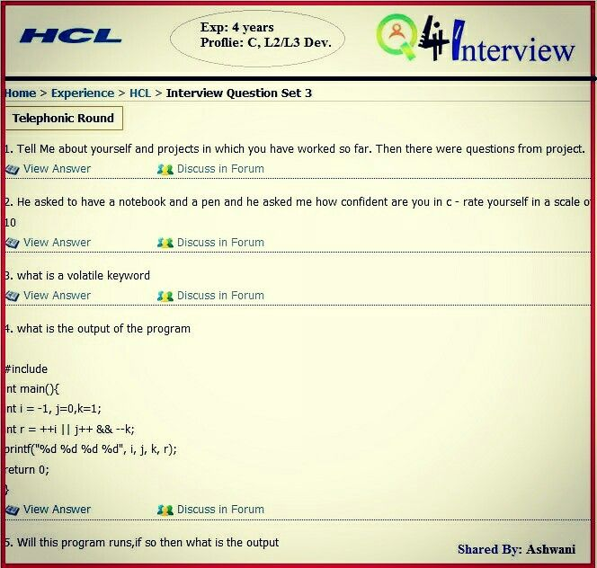 Hcl Interview Questions And Answers