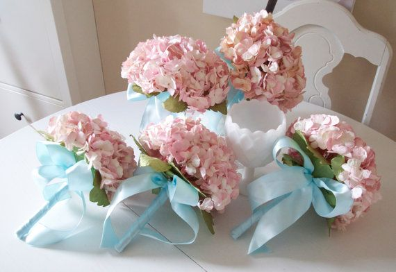 vintage pink paper hydrangea bridemaids bouquet with aqua ribbon details
