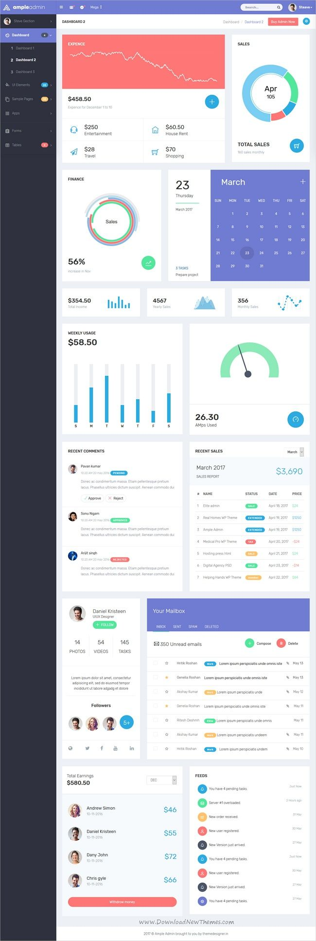 Ample Admin is a popular open source WebApp template for admin dashboards and control panels based on CSS, Bootstrap framework with 7 unique homepage layouts download now➩ https://wrapbootstrap.com/theme/ample-admin-dashboard-template-WB0RDB1MP?ref=datasata