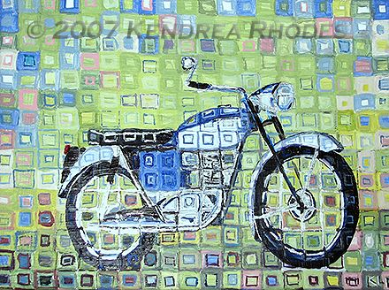 Triumph Tiger Cub 1967 - original acrylic on canvas by Kendrea Rhodes © 2007 Kendrea Rhodes #kendreart