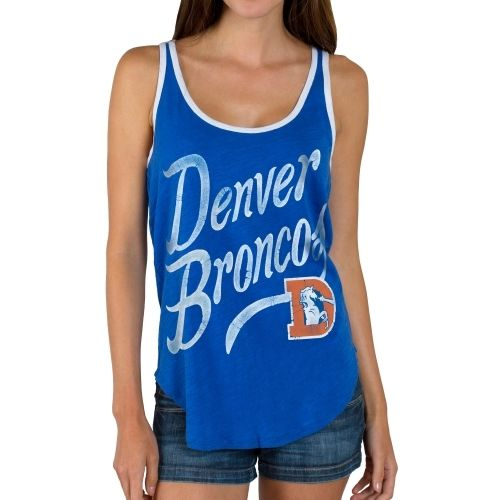 Junk Food Denver Broncos Women's Royal Blue Roster Ringer Tank Top