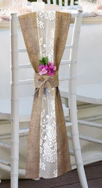 Hessian burlap and lace chair sash