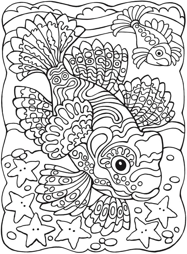 930 best adult colouring under the sea fish mermaids for Adult fish coloring pages
