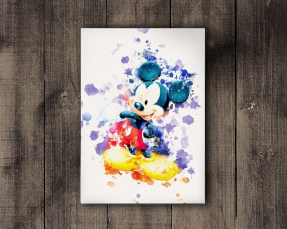 Mickey Mouse Printable Disney Watercolor Print by CoffeeLoffe