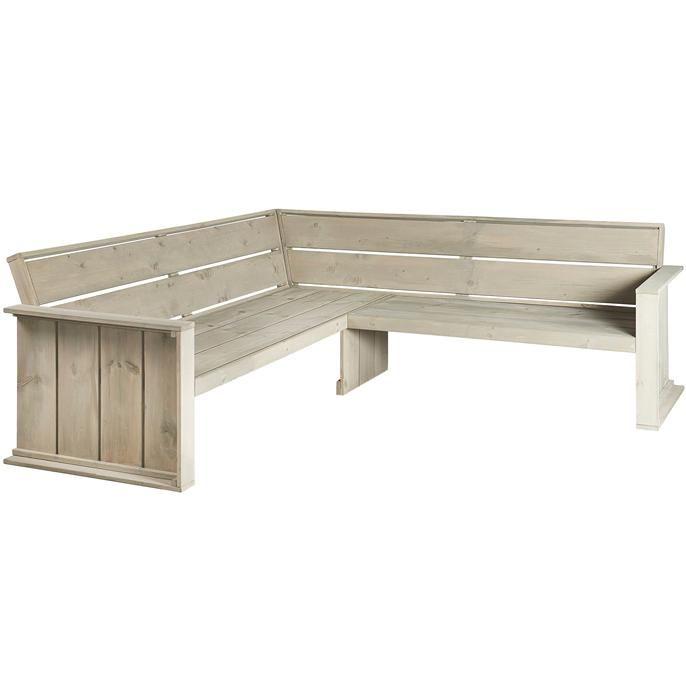 Leuk voor in de tuin, hoekbank uit de Ostuni serie. Afmeting: 218 x 218 cm. Kleur: grijs. Exclusief kussens.