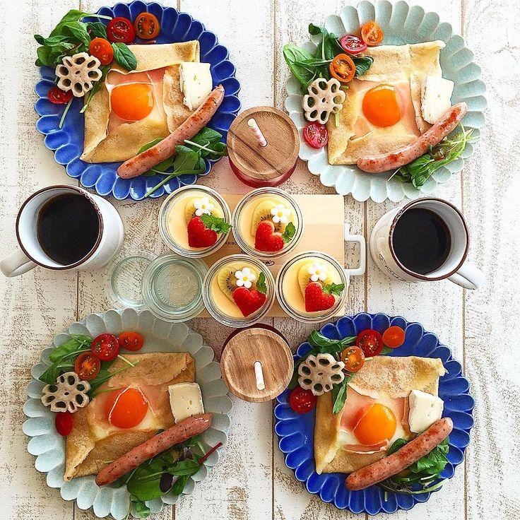 Apr.22 today's breakfast + 蕎麦粉のガレット レモン&ハーブウインナー ブリーチーズ とろりんプリン であさごはん🍴 + 今日は子供達が大好きなガレットで朝ごはん 卵を崩しながら食べて美味しい♡ + 来週は家庭訪問があるので 今日はお庭掃除の日 子供達は甥っこたちのお世話に出動! モリモリ食べたのでしっかり頑張りまーす! + #おうち#おうち時間#おうちじかん#おうちごはん#朝ごはん#breakfast#朝時間#goodmorninggoodbreakfast#ガレット#蕎麦粉のガレット#galette#kyocogalette#プリン#pudding#おうちカフェ#おうちcafe#スタジオエム#スタジオm#fucca#weck#weckしてみた#lin_stagrammer#delistagrammer#cookingram#ruhru春のおうちごはんコンテスト#foodpic#日々