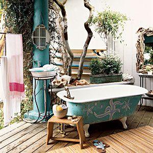 Outdoor bath!: Ideas, Outdoor Bathrooms, Outdoor Baths, Dreams, Outdoor Shower, Bathtubs, Clawfoot Tubs, Coastal Colors, Coastal Living