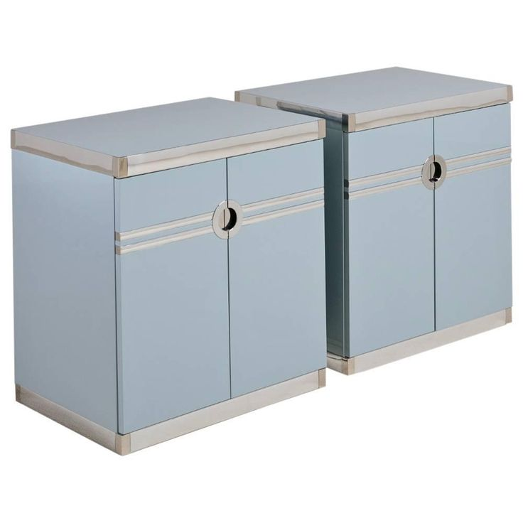 pair of bone china blue pierre cardin side cabinets 1970s