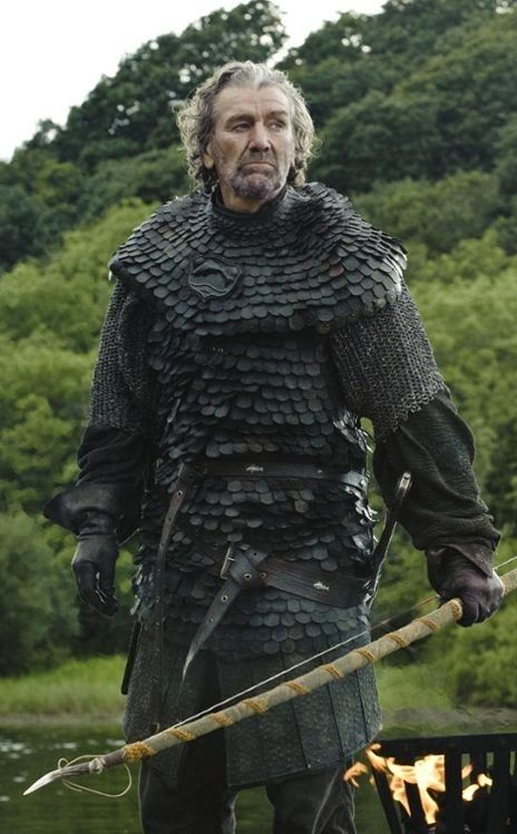"""Only ONE SHOT --- Clive Russell as Brynden """"Blackfish"""" Tully wearing the fantastic Tully armor"""