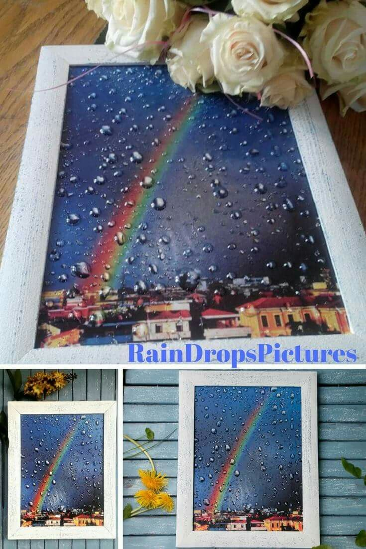 Rainbow print 3D effect wall art decoupage Rainbow wall decor 3D rain drops Rainbow Frame no glass picture Home interior picture gift her