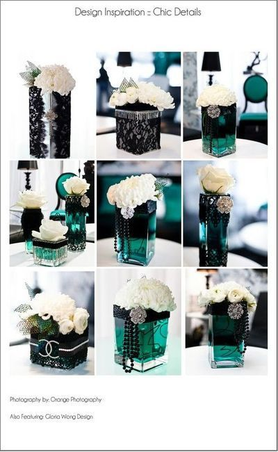black/ teal lace & pearls centerpiece / wedding -   http://specialweddingcakeideas576.blogspot.com