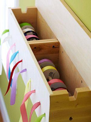 DIY Wooden Ribbon Box. #storage