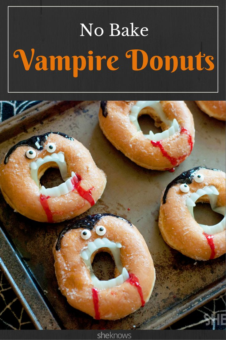 You can totally turn doughnuts into creepy, no-bake vampire treats