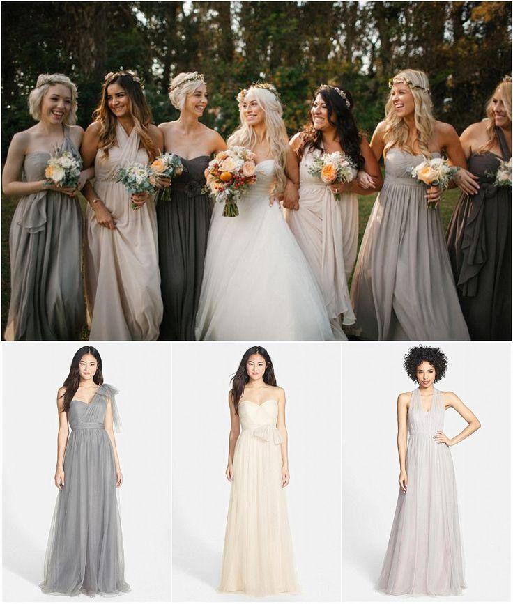 Mismatched Bridesmaid Dress Ideas. LOVE the neutral colors!