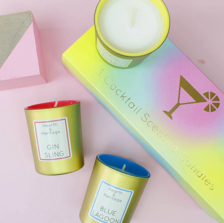 A beautiful set of 3 different cocktail candles in a gorgeous slide gift box, Pina Colada, Gin Sling and Blue Lagoon.We all love a cocktail, there are 3 different ones in this box! Pina Colada is in Yellow and Gold, the scent is Pineapple, Rum and Coconot. Blue Lagoon is in <strong>B</strong>lue and Gold, the scent is Orange liqueur, lemon and lime Gin Sling is in Pink and Gold, the scent is Cherries and Gin Also see our Cocktail themed products in our store such as Mugs, lipbalms and large…