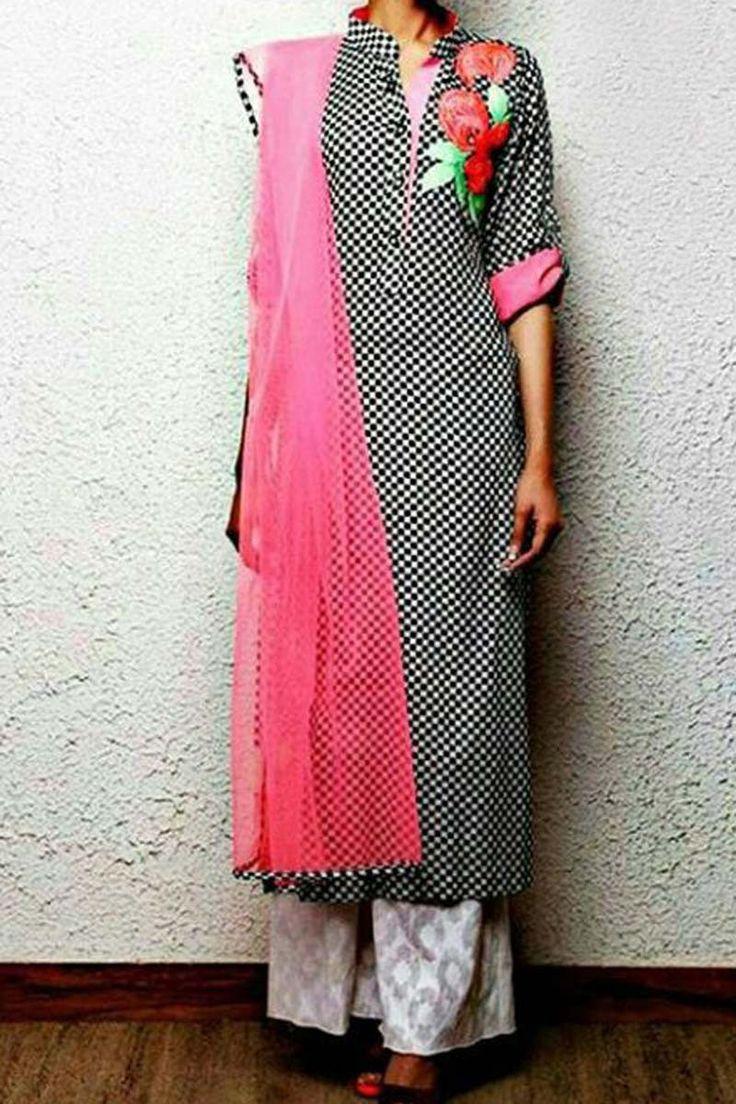 Black Chanderi Punjabi Salwar Suit with Dupatta