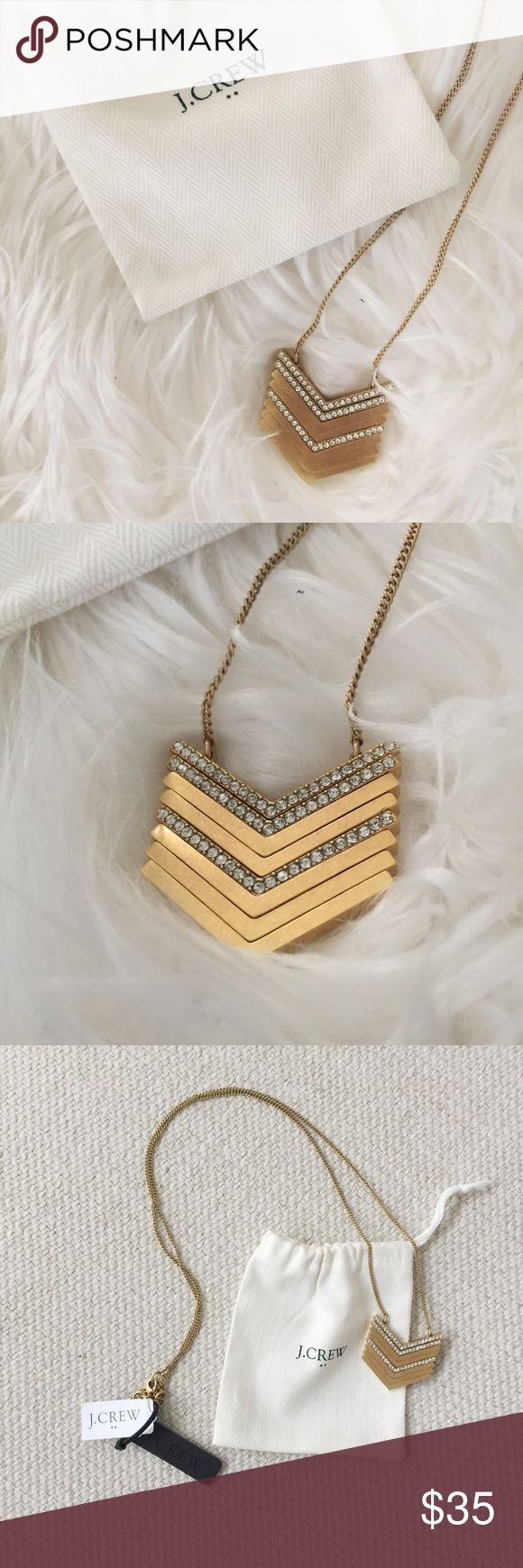 J. Crew Chevron Necklace NWT J. Crew gold brushed Chevron necklace. Comes with pouch. No trades. Poshmark transactions only :) J. Crew Jewelry Necklaces