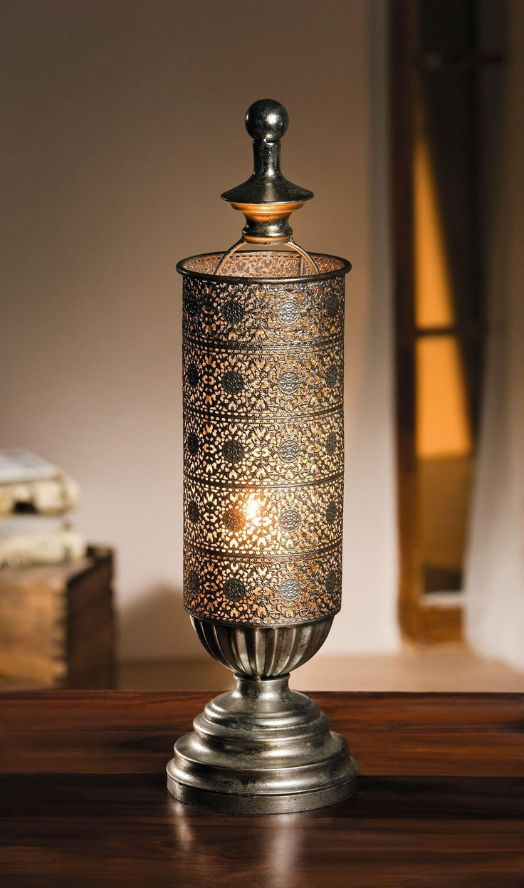 Metal Oriental-style Table Candle Lantern - Mirage Antique Silver Candle Lantern