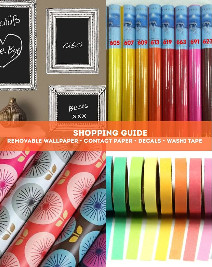 As a follow up to my last post with lots of inspiration for how to use decals, removable wallpaper, washi tape, and contact paper, I've created a shopping guide so you can have some fun making it happen in your own space.
